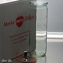 6 Weck Einkochgläser 1/2 Liter Zylinderglas RR60