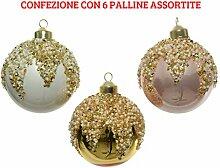 6 Weihnachtskugeln aus Glas 8 cm mit Perlen zum