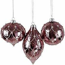 6 Weihnachtskugeln aus Glas rosa mit Perlen Glas 3