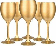 6 Weingläser Set 300ml im 6er-Pack Gold Handbemaltes Weinglas Rotweingläser
