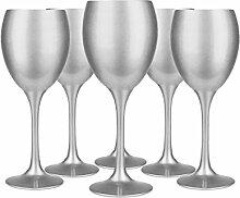 6Weingläser Sichtscheiben Silber Weinglas rot, Weißweinglas,, Glas zu Wasser/Spezial Verkostung Blind/300ml