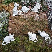6 weiße Mäuse Gartenfigur Dekofigur täuschend echt Katze und Maus Tierfigur
