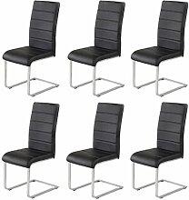 6 x Agionda ® Design Stuhl Freischwinger Jan Piet PU Kunstleder schwarz NEU Jetzt 120 kg belastbar Gestell einteilig Polsterstuhl Esszimmerstuhl