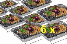 6 x CAMPING WOHNMOBIL OUTDOOR - Grillstation Einmalgrill Einweggrills Edelstahl Grill Holzkohle Tischgrill Klappgrill Gartengrill Picknick NEU Einweggrill SOFORT GRILLEN MIT ZÜNDFOLIE IN 15 MINUTEN BEREIT - SEHR LANGE BRENNDAUER UND GUTE HITZE