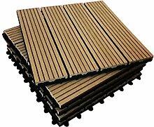 6x Composite Sonnendeck Fliesen–Teak–click-deck–Terrasse, Balkon, Dachterrasse, Whirlpool Deck Fliesen Bodenbelag Sonnendeck (6x Composite Fliesen)