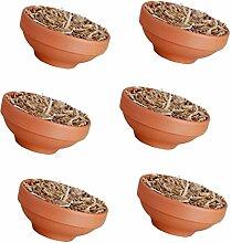 6 x Feuerschale/Topf Wachs / Stroh,Terracotta, Garten Hohe Flamme Feier Party