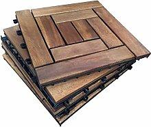 6x Holz Interlocking Akazien Hartholz Sonnendeck