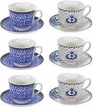 6 x Kaffeetassen mit Unterteller aus Porzellan