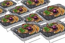 6 x Komplettset Einweggrill Edelstahl Grill Holzkohlegrill Klappgrill Gartengrill Picknickgrill MIT HOLZKOHLE - SCHNELL UND SICHER GRILLEN - Faltgrill