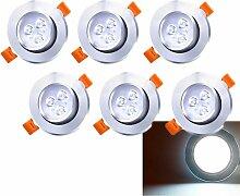 6 x LED Einbaustrahler 230V/12V 3W Kaltweiß