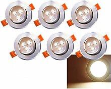 6 x LED Einbaustrahler 230V/12V 3W Warmweiß