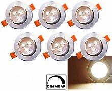 6 x LED Einbaustrahler Dimmbar 230V/12V 3W