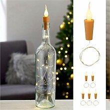 6 x LED Flaschen-Lichterkette mit Kerzenkorken