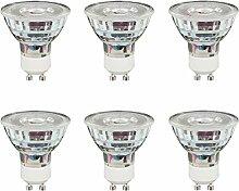 6 x LED Glas Reflektor GU10 5W = 50W 400lm