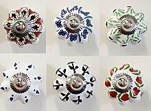 6 x Möbelknopf Set Möbelknauf Möbelknöpfe Möbelgriff Keramik Vintage (Set3)