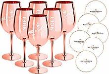 6 x Moet & Chandon Champagnerglas Rose-Gold