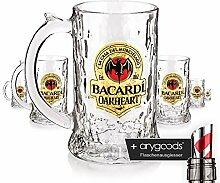 6 x Rum Bacardi Oakheart Fledermaus Krug Glas /