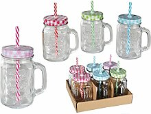 6 x Trinkgläser Einmachglas mit Henkel, Deckel