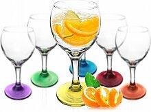 6 x Weingläser Bunte Gläser Weinglas Gläserset Rotweingläser Weinkelche Se