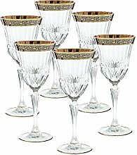 "6 x Weinglas, Weinkelch, Römer Glas ""GOLDBRAND"" 280ml, hochwertiges Kristallglas, moderner Style (GERMAN CRYSTAL powered by CRISTALICA)"