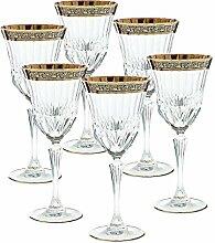 6 X Weinglas Weinkelch Römer Glas Goldbrand 280