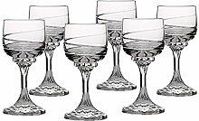 6 X Weinglas Weinkelch Römer Spirale Transparent