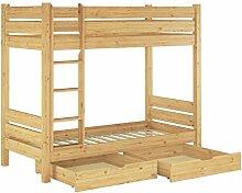 60.16-09 S2 Etagenbett f. Erwachsene 90x200, Nische 100 cm, mit 2 Rollroste und 2 Bettkästen