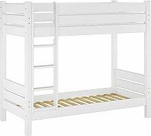60.16-09 W Etagenbett für Erwachsene weiß 90x200 cm, Nischenhöhe 100 cm, mit 2 Rollroste