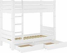 60.16-09 W T80 S2 Etagenbett für Erwachsene weiß 90x200 cm, Nische 80cm teilbar, mit 2 Rollroste u 2 Bettkästen
