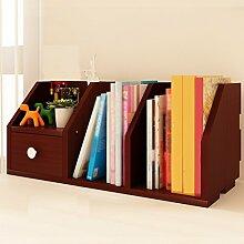 60 * 24 * 24cmCreative Bücherregal einfach auf dem Tisch Bücherregal Regal Modernes einfaches Creative Desktop Incorporated Shelf Combination Grid ( Farbe : Braun )