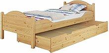 60.30-09 M S4 Bett Kiefer 90x200 mit Lattenrost, Matratze und Bettkasten