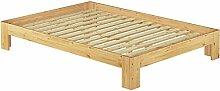 60.67-14 Französisches Bett 140 x 200 cm Kiefer massiv mit Rollros