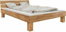 60.80-10-220 Bett Überlänge Buche natur massiv 100x220 cm mit Rollros