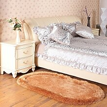 60 * 90cm Stretch Seidenmatte, dickes ovales Wohnzimmer Couchtisch Schlafzimmer Bett Matte, moderne minimalistische Matte ( Farbe : Kamel )