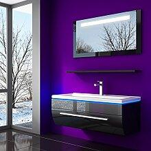 60 cm Schwarz Badmöbelset Vormontiert Badezimmermöbel Waschbeckenschrank mit Waschtisch Spiegel mit LED Hochglanz Lackiert Homeline1