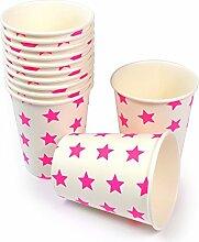 60 Frau Wundervoll Pappbecher / Einwegbecher aus Pappe mit neon-pinken Sternen (Vorteilsmenge)