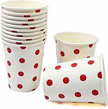 60 Frau Wundervoll Pappbecher / Einwegbecher aus Pappe mit roten Punkten (Vorteilsmenge)