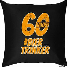 60 JAHRE BIER TRINKER : Kissen mit Füllung - Witziges Zusatzkissen, Kuschelkissen, 40x40 als Geschenkidee. Schwarz
