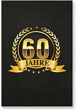60 Jahre Gold, Schild - Geschenk 60. Geburtstag, Geschenkidee Geburtstagsgeschenk zum Sechzigsten, Geburtstagsdeko / Partydeko / Party Zubehör / Geburtstagskarte