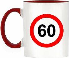 60MPH Design bicolor Becher mit Henkel Rot & Innen