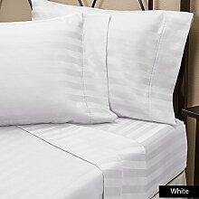 600TC Weich Luxus Zimmer Olympischen Queen weiß gestreift, Spannbetttuch/unten mit 43,2cm Perfekte Passform Tasche 100% reine ägyptische Baumwolle hergestellt von Marke SRP Leinen von SRP Leinen