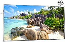 600W Infrarotheizung mit Bild (Strand) inkl. Digitalthermostat mit 7 Tagesplanung - Smart & Nice Serie mit Ein-/Ausschalter - Fern Infrarotheizung mit 7 Jahren Garantie