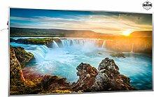 600W Infrarotheizung mit Bild (Wasserfall) inkl. Digitalthermostat mit 7 Tagesplanung - Smart & Nice Serie mit Ein-/Ausschalter - Fern Infrarotheizung mit 7 Jahren Garantie
