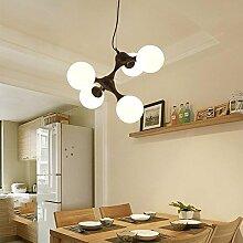 60CM * 40CM Schmiedeeiserne Kronleuchter, SEESUNG Neue Europäische Kreative Wohnzimmer Lampe, Persönlichkeit Glas Glühbirne LED Esszimmer Lampe Schlafzimmer Lampe
