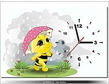 60x40cm - Leinwandbild mit Wanduhr - Moderne Dekoration - Holzrahmen - Biene, Biene, Regenschirm, Regen, wiese -