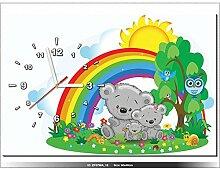 60x40cm - Leinwandbild mit Wanduhr - Moderne Dekoration - Holzrahmen - mis, Bären, Roman, Familie-Flug, Regenbogen, Blumen, Tier