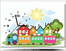 60x40cm - Leinwandbild mit Wanduhr - Moderne Dekoration - Holzrahmen - Zug, Zug, Stadt, Chu-Chu-und-Waggons, Häuser, Haus, Baum