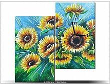 60x60cm - Leinwandbild mit Wanduhr - Moderne Dekoration - Holzrahmen - Abstraktion, Regen, Wasser, Blume, Sonnenblume, Sonnenblu