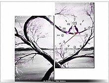 60x60cm - Leinwandbild mit Wanduhr - Moderne Dekoration - Holzrahmen - In violettem Licht des Mondes