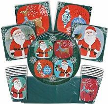 61-Teiliges Weihnachten Einweggeschirr Set 